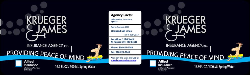 Krueger & James Water Bottle Label