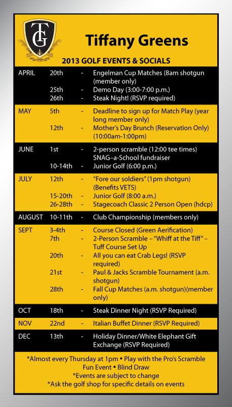 Tiffany Greens Golf Schedule
